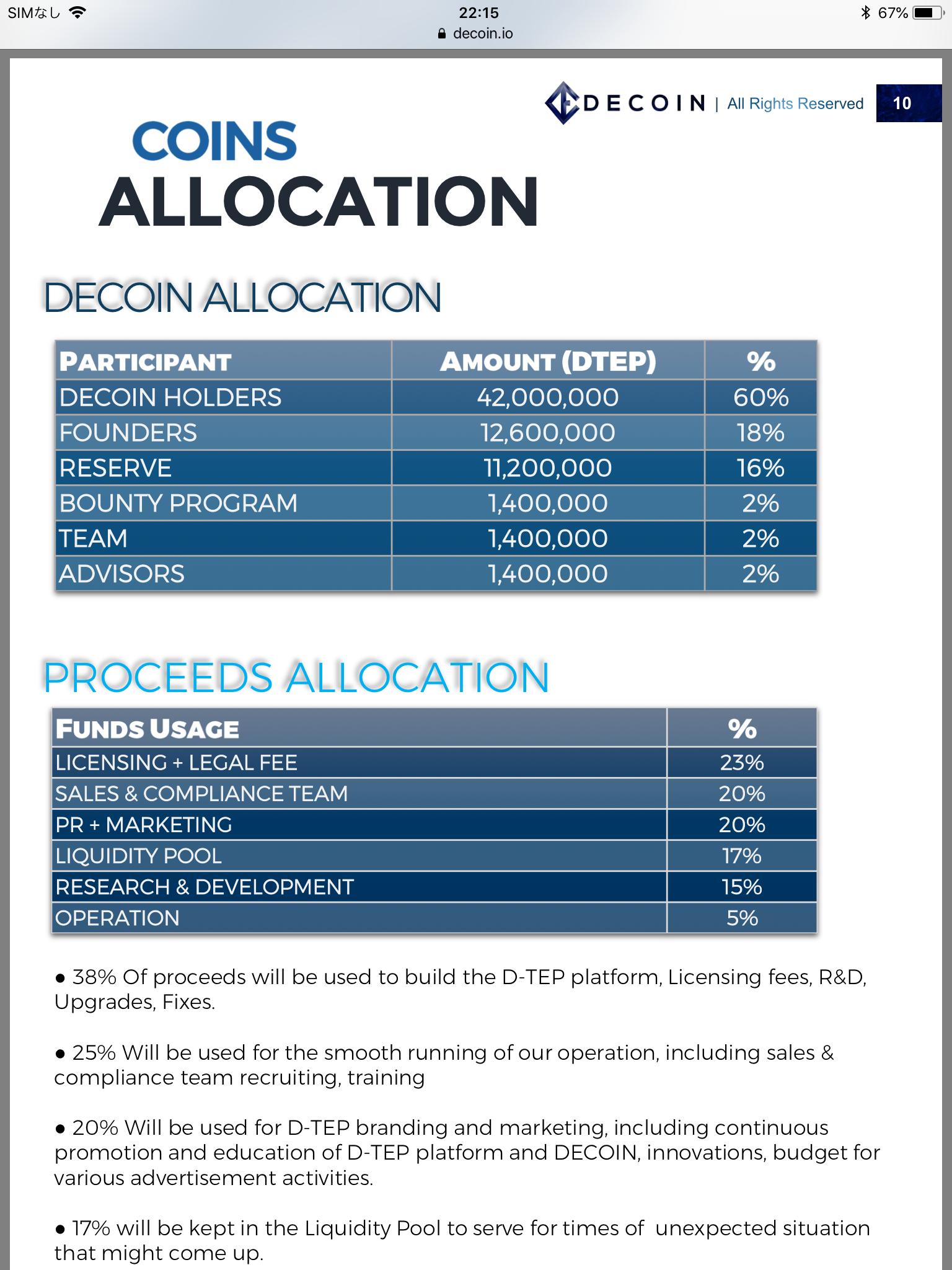 Coins allocation