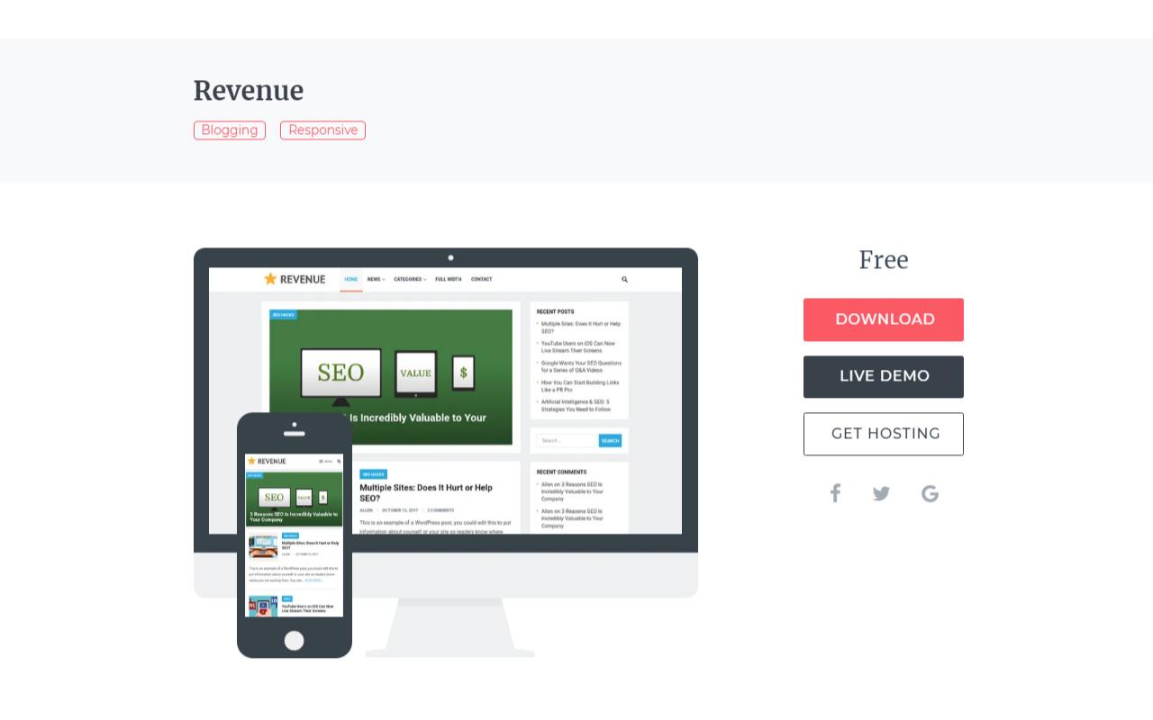WordPress(ワードプレス)おすすめの無料ブログテーマ「Revenue」